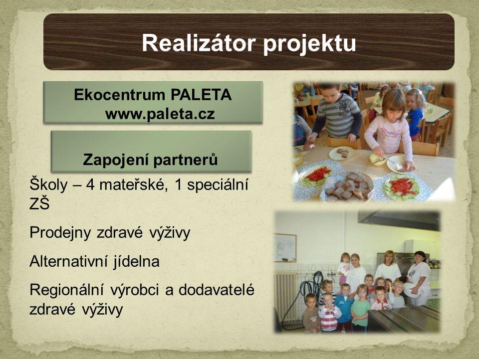 Školy – 4 mateřské, 1 speciální ZŠ Prodejny zdravé výživy Alternativní jídelna Regionální výrobci a dodavatelé zdravé výživy Realizátor projektu Ekocentrum PALETA www.paleta.cz Zapojení partnerů