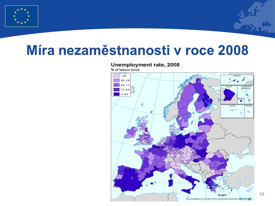 12 Evropská unie Regionální politika – zaměstnanost, sociální věci a sociální začleňování Míra nezaměstnanosti v roce 2008