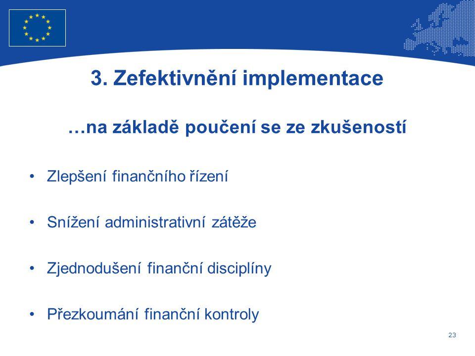 23 Evropská unie Regionální politika – zaměstnanost, sociální věci a sociální začleňování Zlepšení finančního řízení Snížení administrativní zátěže Zjednodušení finanční disciplíny Přezkoumání finanční kontroly 3.