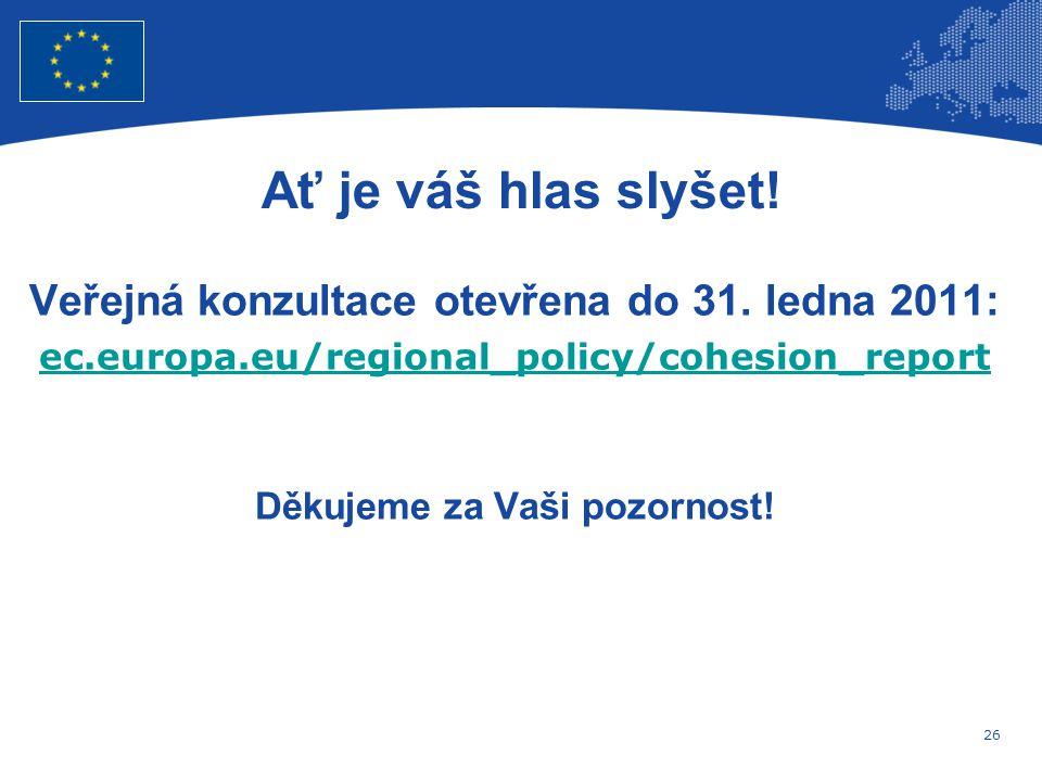 26 Evropská unie Regionální politika – zaměstnanost, sociální věci a sociální začleňování Ať je váš hlas slyšet.