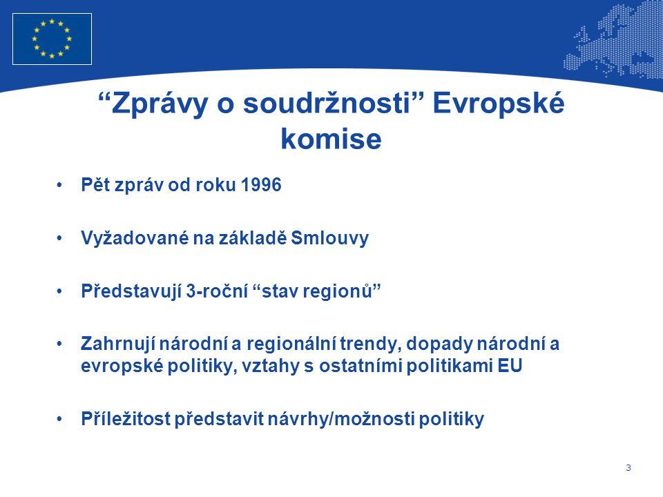 3 Evropská unie Regionální politika – zaměstnanost, sociální věci a sociální začleňování Zprávy o soudržnosti Evropské komise Pět zpráv od roku 1996 Vyžadované na základě Smlouvy Představují 3-roční stav regionů Zahrnují národní a regionální trendy, dopady národní a evropské politiky, vztahy s ostatními politikami EU Příležitost představit návrhy/možnosti politiky
