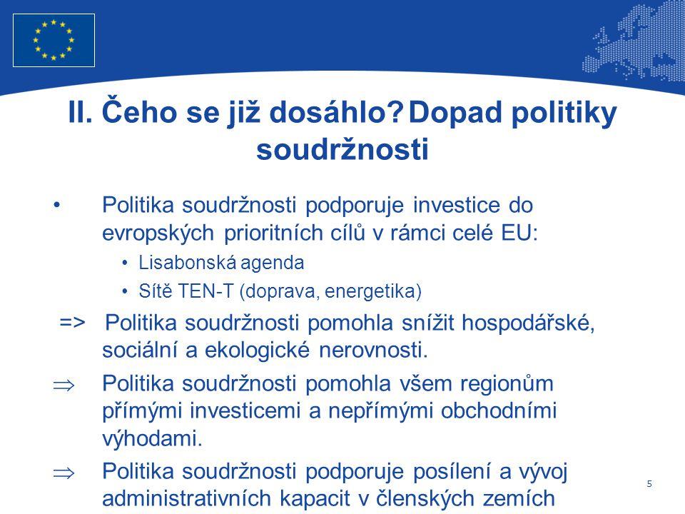 5 Evropská unie Regionální politika – zaměstnanost, sociální věci a sociální začleňování Politika soudržnosti podporuje investice do evropských prioritních cílů v rámci celé EU: Lisabonská agenda Sítě TEN-T (doprava, energetika) => Politika soudržnosti pomohla snížit hospodářské, sociální a ekologické nerovnosti.