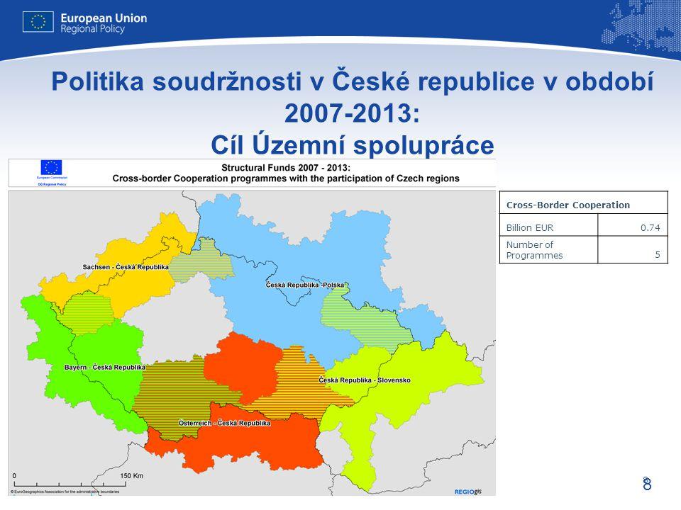 8 Evropská unie Regionální politika – zaměstnanost, sociální věci a sociální začleňování 8 Politika soudržnosti v České republice v období 2007-2013: Cíl Územní spolupráce Cross-Border Cooperation Billion EUR0.74 Number of Programmes5