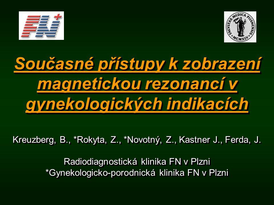 Současné přístupy k zobrazení magnetickou rezonancí v gynekologických indikacích Kreuzberg, B., *Rokyta, Z., *Novotný, Z., Kastner J., Ferda, J. Radio
