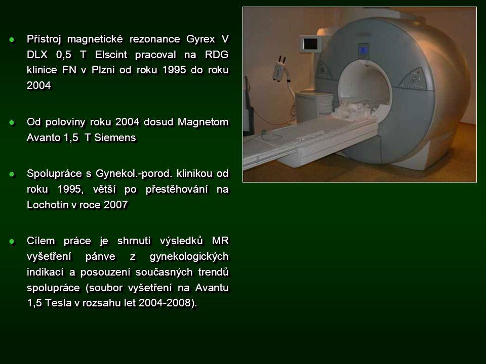Přístroj magnetické rezonance Gyrex V DLX 0,5 T Elscint pracoval na RDG klinice FN v Plzni od roku 1995 do roku 2004 Přístroj magnetické rezonance Gyrex V DLX 0,5 T Elscint pracoval na RDG klinice FN v Plzni od roku 1995 do roku 2004 Od poloviny roku 2004 dosud Magnetom Avanto 1,5 T Siemens Od poloviny roku 2004 dosud Magnetom Avanto 1,5 T Siemens Spolupráce s Gynekol.-porod.