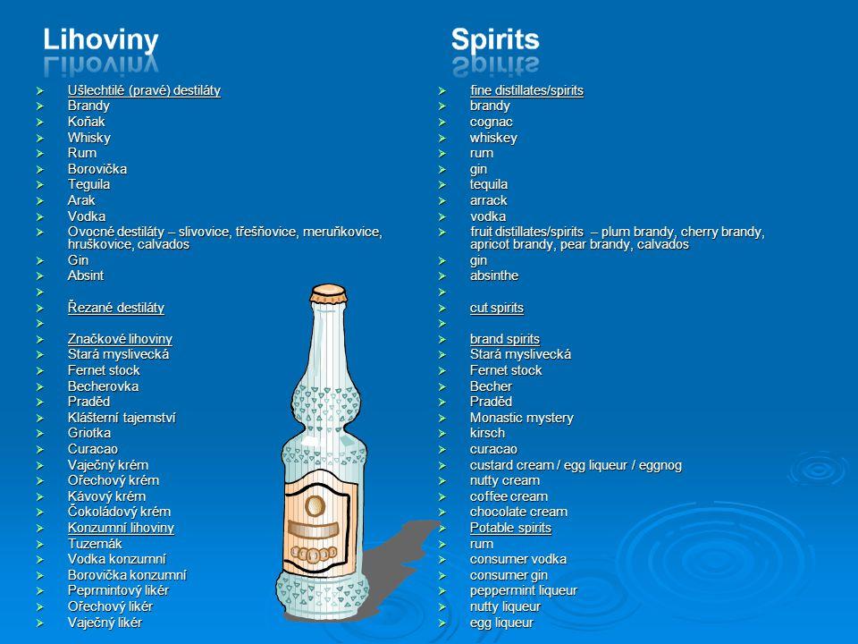  Ušlechtilé (pravé) destiláty  Brandy  Koňak  Whisky  Rum  Borovička  Teguila  Arak  Vodka  Ovocné destiláty – slivovice, třešňovice, meruňk