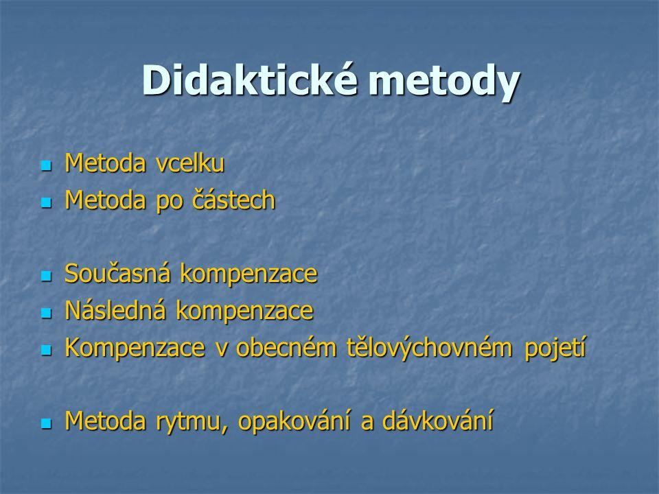 Didaktické metody Metoda vcelku Metoda vcelku Metoda po částech Metoda po částech Současná kompenzace Současná kompenzace Následná kompenzace Následná