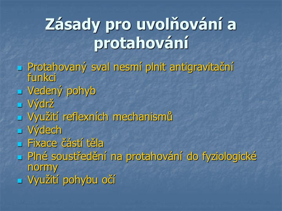 Zásady pro uvolňování a protahování Protahovaný sval nesmí plnit antigravitační funkci Protahovaný sval nesmí plnit antigravitační funkci Vedený pohyb