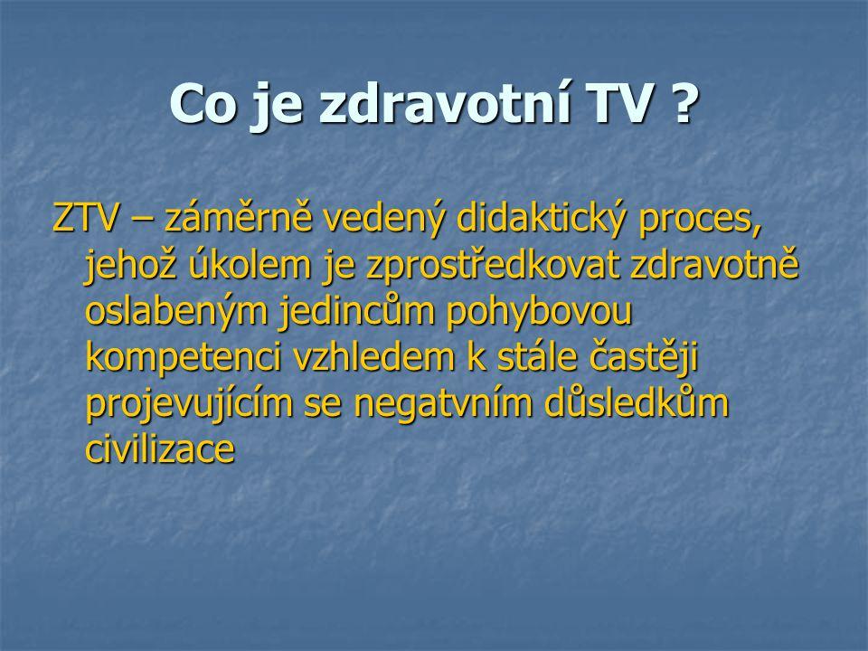 Co je zdravotní TV ? ZTV – záměrně vedený didaktický proces, jehož úkolem je zprostředkovat zdravotně oslabeným jedincům pohybovou kompetenci vzhledem