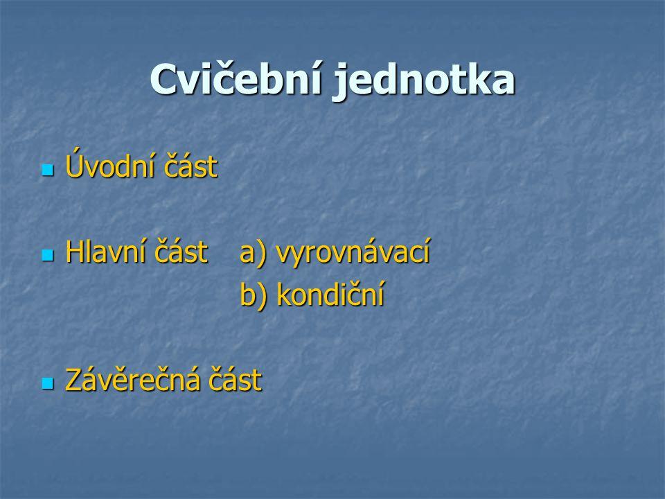Cvičební jednotka Úvodní část Úvodní část Hlavní část a) vyrovnávací Hlavní část a) vyrovnávací b) kondiční Závěrečná část Závěrečná část