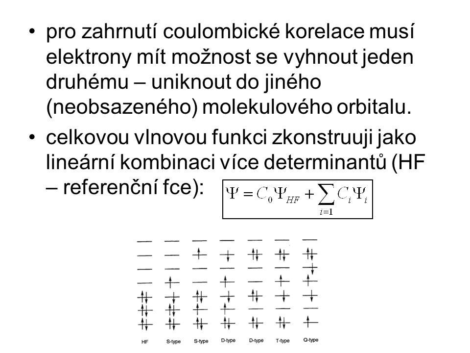 pro zahrnutí coulombické korelace musí elektrony mít možnost se vyhnout jeden druhému – uniknout do jiného (neobsazeného) molekulového orbitalu. celko