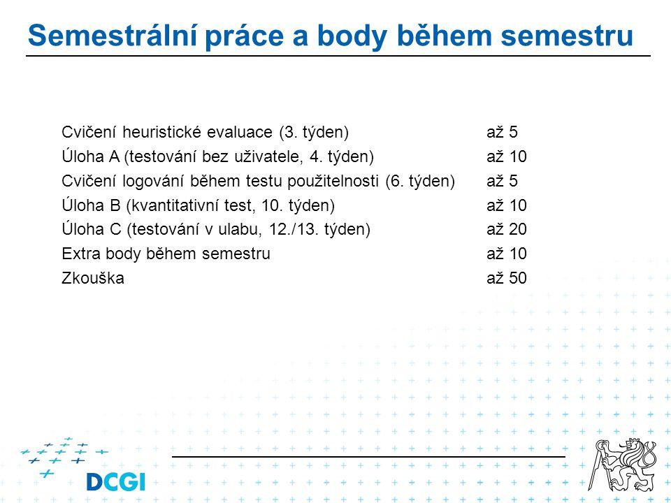 Semestrální práce a body během semestru Cvičení heuristické evaluace (3.