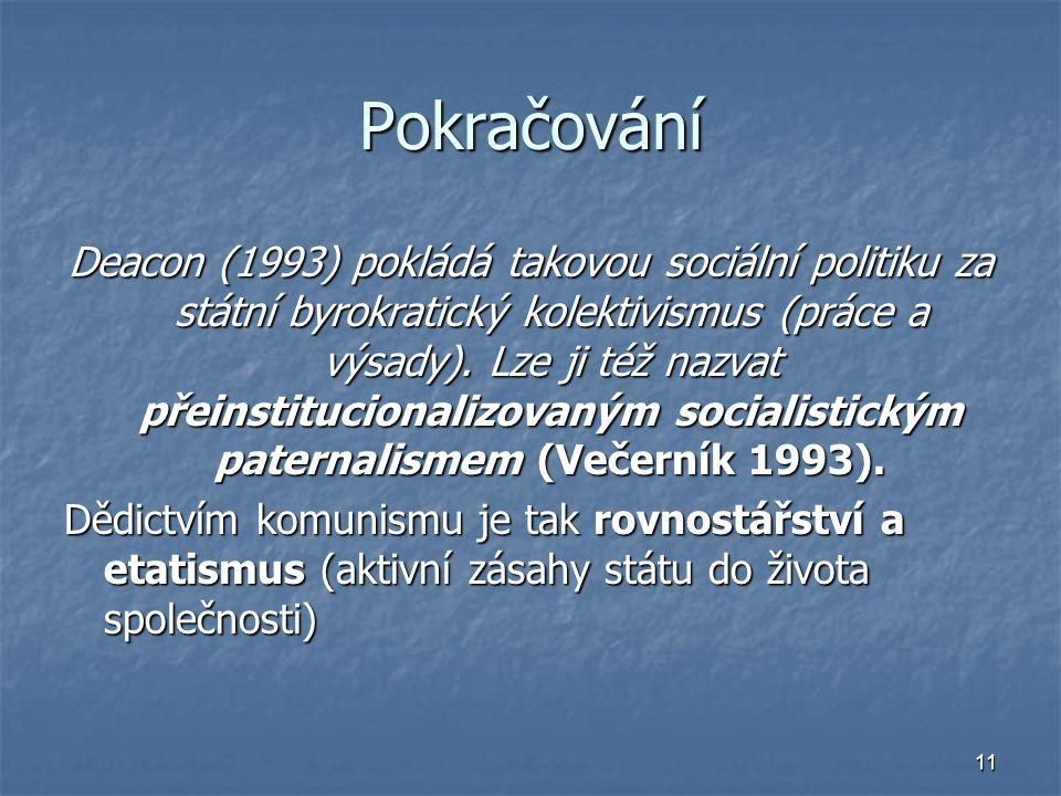 11 Pokračování Deacon (1993) pokládá takovou sociální politiku za státní byrokratický kolektivismus (práce a výsady). Lze ji též nazvat přeinstitucion