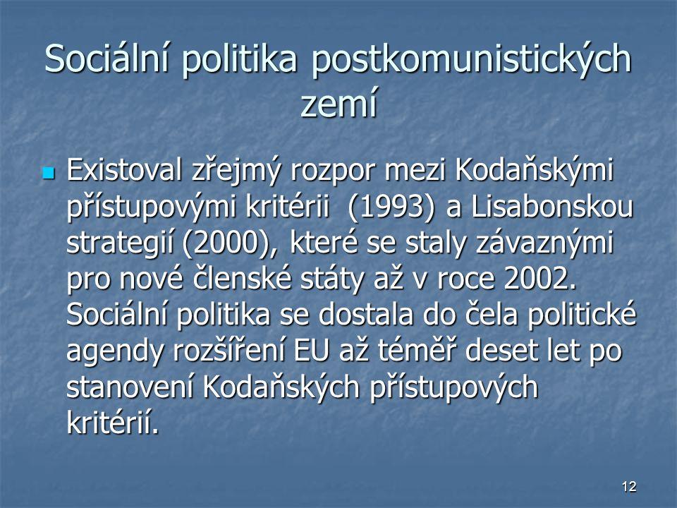 12 Sociální politika postkomunistických zemí Existoval zřejmý rozpor mezi Kodaňskými přístupovými kritérii (1993) a Lisabonskou strategií (2000), které se staly závaznými pro nové členské státy až v roce 2002.