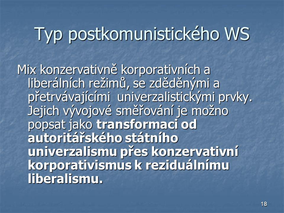 18 Typ postkomunistického WS Mix konzervativně korporativních a liberálních režimů, se zděděnými a přetrvávajícími univerzalistickými prvky.
