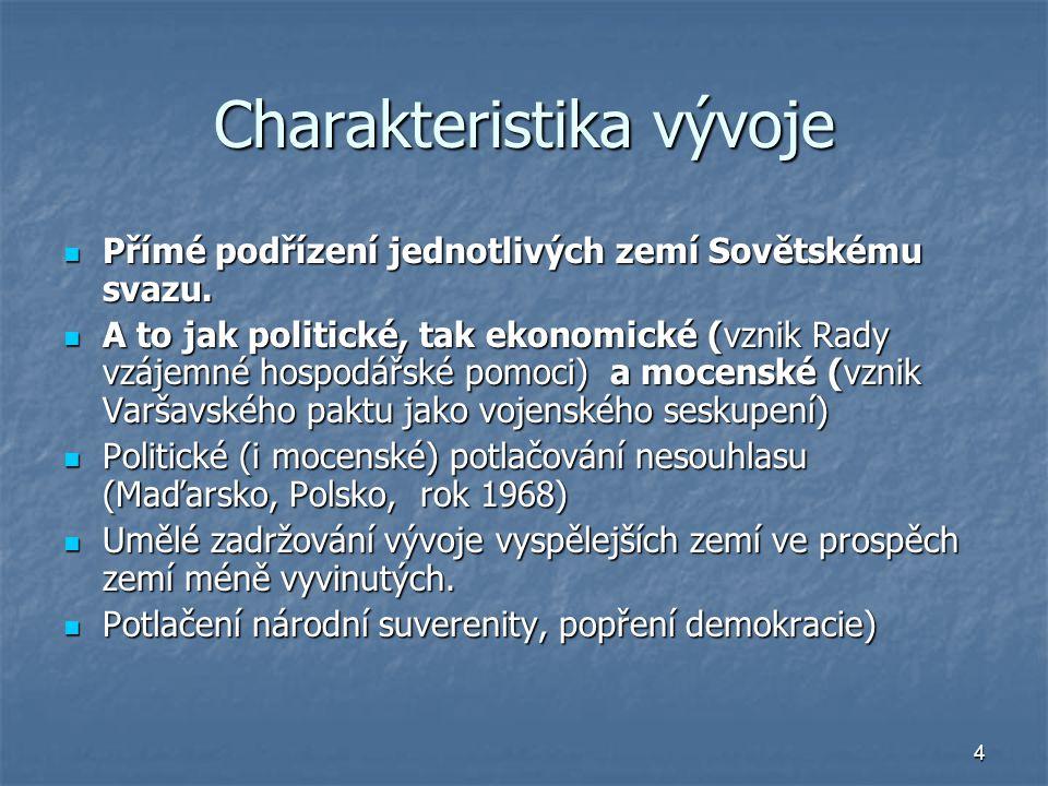 4 Charakteristika vývoje Přímé podřízení jednotlivých zemí Sovětskému svazu. Přímé podřízení jednotlivých zemí Sovětskému svazu. A to jak politické, t