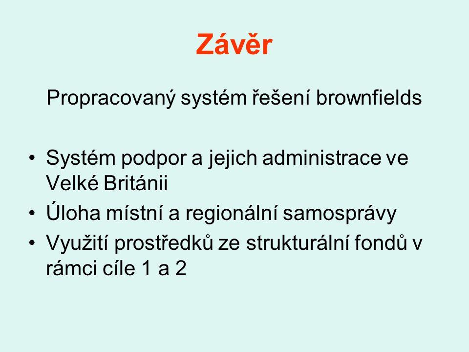 Závěr Propracovaný systém řešení brownfields Systém podpor a jejich administrace ve Velké Británii Úloha místní a regionální samosprávy Využití prostředků ze strukturální fondů v rámci cíle 1 a 2