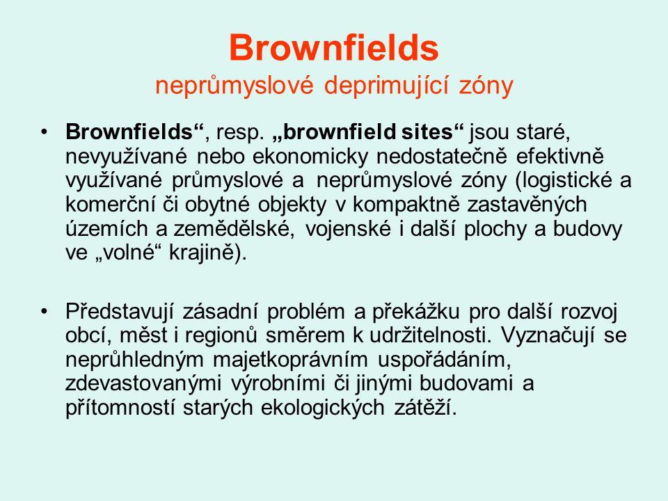 Brownfields neprůmyslové deprimující zóny Brownfields , resp.