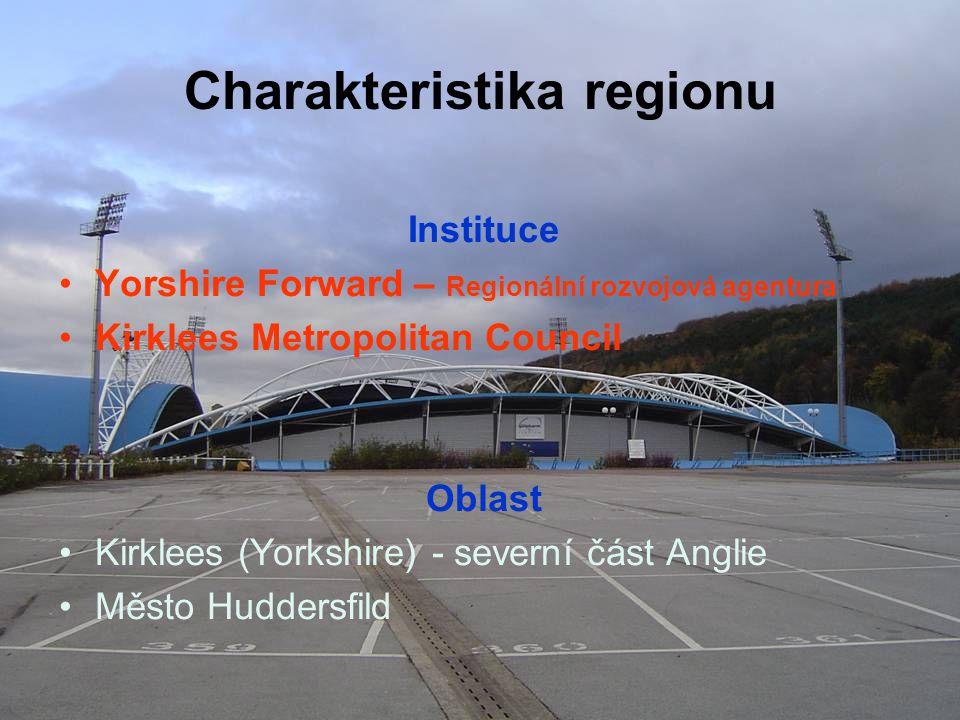 Charakteristika regionu Instituce Yorshire Forward – Regionální rozvojová agentura Kirklees Metropolitan Council Oblast Kirklees (Yorkshire) - severní část Anglie Město Huddersfild