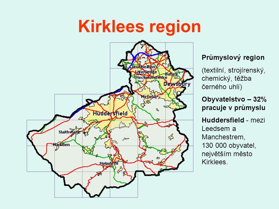 Kirklees region Průmyslový region (textilní, strojírenský, chemický, těžba černého uhlí) Obyvatelstvo – 32% pracuje v průmyslu Huddersfield - mezi Leedsem a Manchestrem, 130 000 obyvatel, největším město Kirklees.