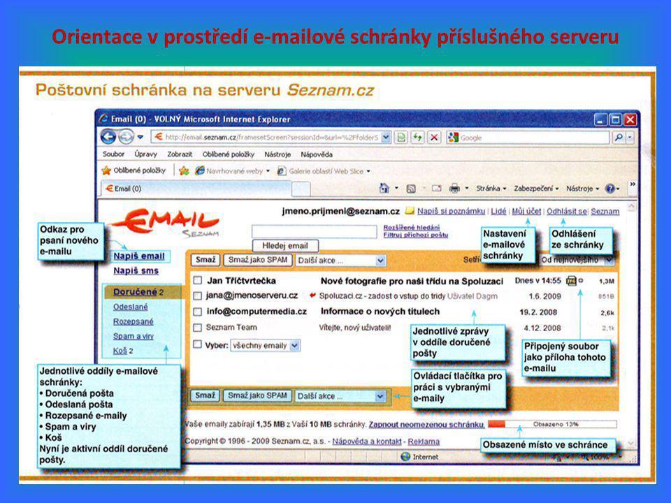 7 Orientace v prostředí e-mailové schránky příslušného serveru