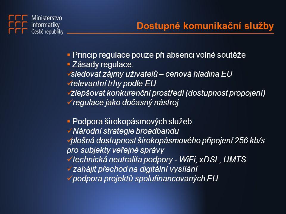 Dostupné komunikační služby  Princip regulace pouze při absenci volné soutěže  Zásady regulace: sledovat zájmy uživatelů – cenová hladina EU relevantní trhy podle EU zlepšovat konkurenční prostředí (dostupnost propojení) regulace jako dočasný nástroj  Podpora širokopásmových služeb: Národní strategie broadbandu plošná dostupnost širokopásmového připojení 256 kb/s pro subjekty veřejné správy technická neutralita podpory - WiFi, xDSL, UMTS zahájit přechod na digitální vysílání podpora projektů spolufinancovaných EU