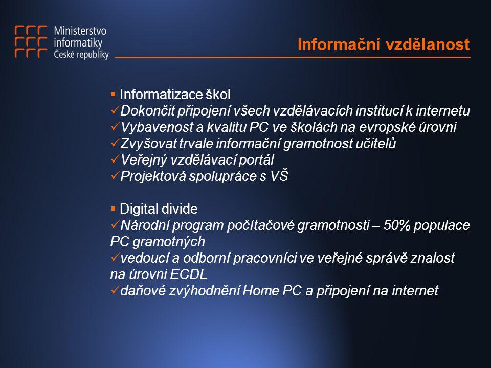Informační vzdělanost  Informatizace škol Dokončit připojení všech vzdělávacích institucí k internetu Vybavenost a kvalitu PC ve školách na evropské úrovni Zvyšovat trvale informační gramotnost učitelů Veřejný vzdělávací portál Projektová spolupráce s VŠ  Digital divide Národní program počítačové gramotnosti – 50% populace PC gramotných vedoucí a odborní pracovníci ve veřejné správě znalost na úrovni ECDL daňové zvýhodnění Home PC a připojení na internet