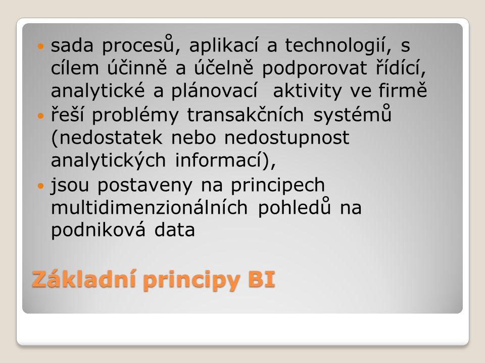 Základní principy BI sada procesů, aplikací a technologií, s cílem účinně a účelně podporovat řídící, analytické a plánovací aktivity ve firmě řeší pr