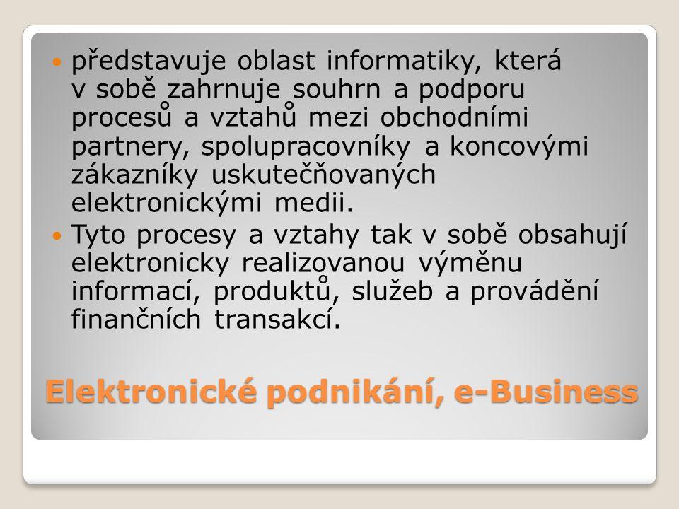 Elektronické podnikání, e-Business představuje oblast informatiky, která v sobě zahrnuje souhrn a podporu procesů a vztahů mezi obchodními partnery, s