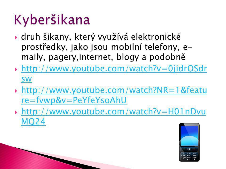  druh šikany, který využívá elektronické prostředky, jako jsou mobilní telefony, e- maily, pagery,internet, blogy a podobně  http://www.youtube.com/watch v=0jidrOSdr sw http://www.youtube.com/watch v=0jidrOSdr sw  http://www.youtube.com/watch NR=1&featu re=fvwp&v=PeYfeYsoAhU http://www.youtube.com/watch NR=1&featu re=fvwp&v=PeYfeYsoAhU  http://www.youtube.com/watch v=H01nDvu MQ24 http://www.youtube.com/watch v=H01nDvu MQ24