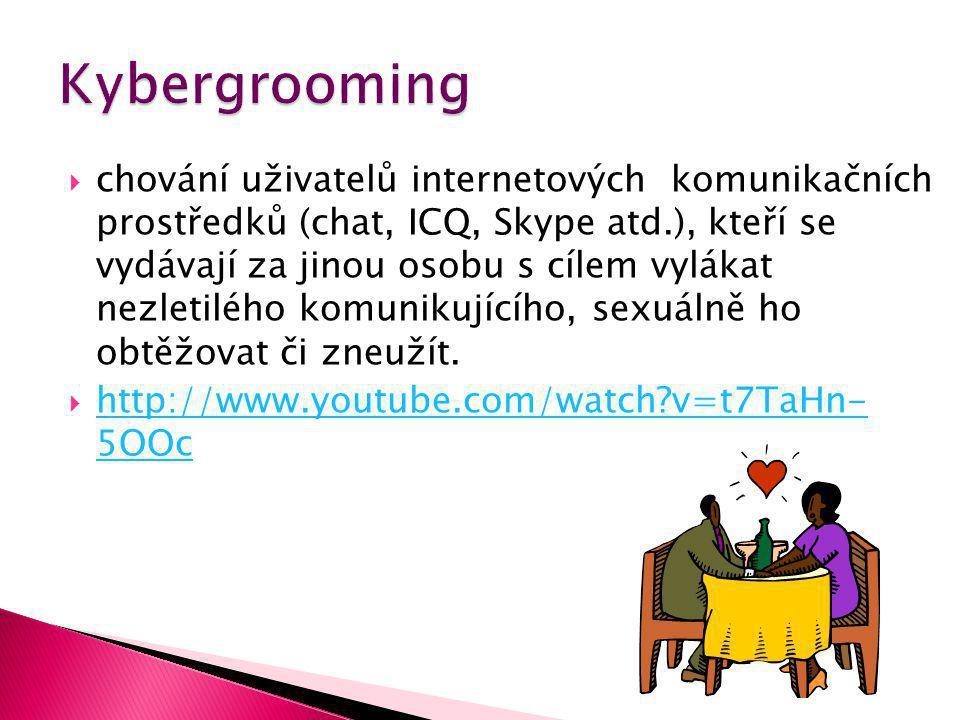  chování uživatelů internetových komunikačních prostředků (chat, ICQ, Skype atd.), kteří se vydávají za jinou osobu s cílem vylákat nezletilého komunikujícího, sexuálně ho obtěžovat či zneužít.