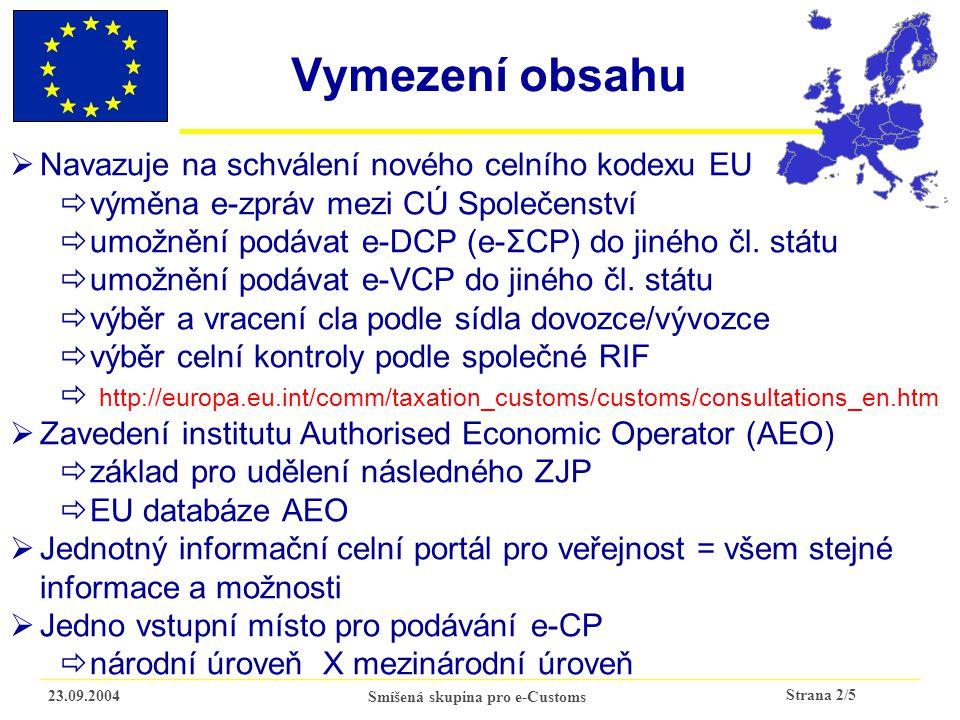 Strana 2/5 23.09.2004Smíšená skupina pro e-Customs Vymezení obsahu  Navazuje na schválení nového celního kodexu EU  výměna e-zpráv mezi CÚ Společenství  umožnění podávat e-DCP (e-ΣCP) do jiného čl.