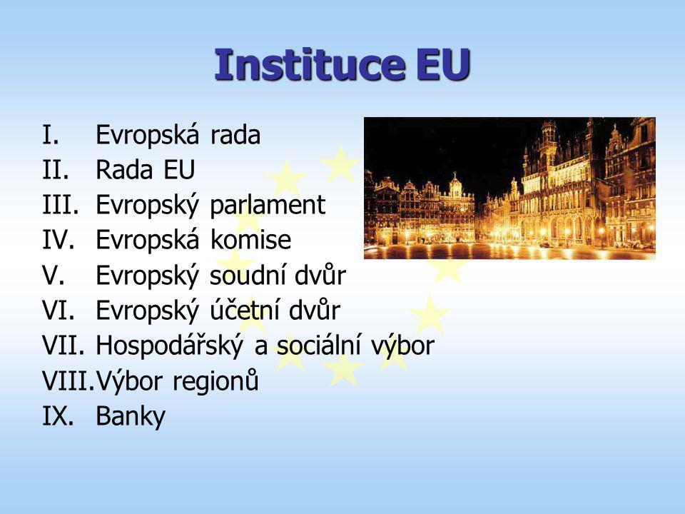 InstituceEU Instituce EU I.Evropská rada II.Rada EU III.Evropský parlament IV.Evropská komise V.Evropský soudní dvůr VI.Evropský účetní dvůr VII.Hospo
