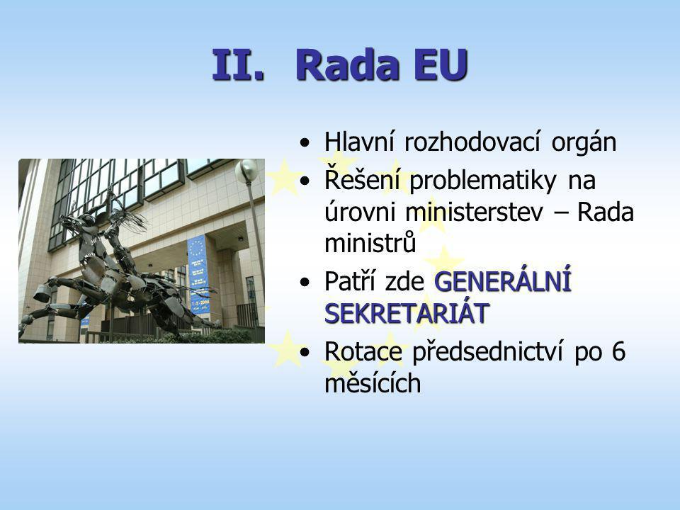 II.Rada EU Hlavní rozhodovací orgán Řešení problematiky na úrovni ministerstev – Rada ministrů GENERÁLNÍ SEKRETARIÁTPatří zde GENERÁLNÍ SEKRETARIÁT Ro