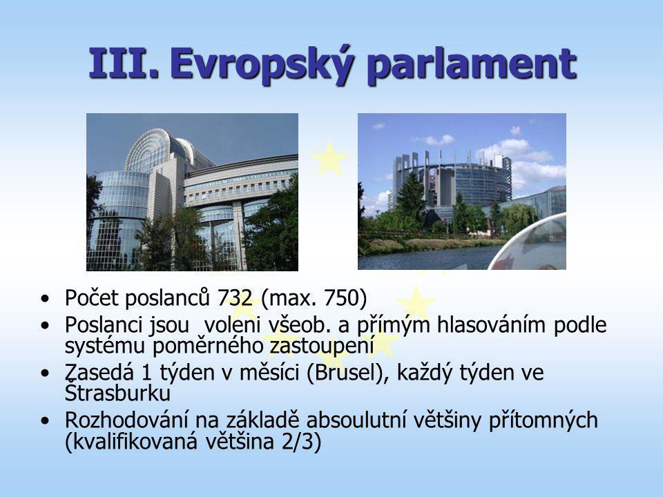 III.Evropský parlament Počet poslanců 732 (max. 750) Poslanci jsou voleni všeob. a přímým hlasováním podle systému poměrného zastoupení Zasedá 1 týden