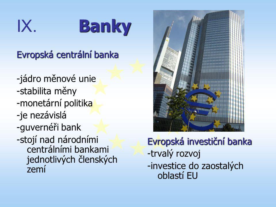 Banky IX. Banky Evropská centrální banka -jádro měnové unie -stabilita měny -monetární politika -je nezávislá -guvernéři bank -stojí nad národními cen