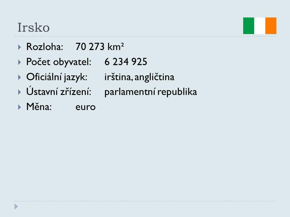 Irsko  Rozloha:70 273 km²  Počet obyvatel:6 234 925  Oficiální jazyk:irština, angličtina  Ústavní zřízení:parlamentní republika  Měna:euro