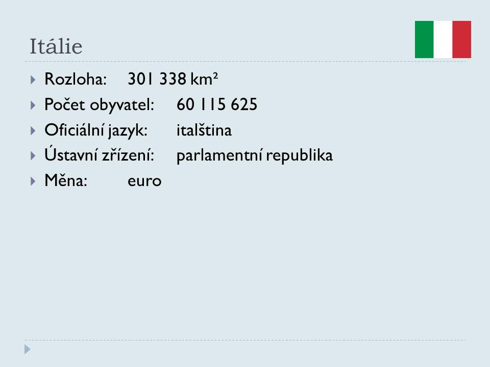 Itálie  Rozloha:301 338 km²  Počet obyvatel:60 115 625  Oficiální jazyk:italština  Ústavní zřízení:parlamentní republika  Měna:euro