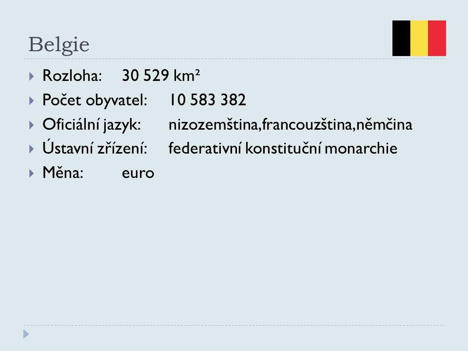 Belgie  Rozloha:30 529 km²  Počet obyvatel:10 583 382  Oficiální jazyk:nizozemština,francouzština,němčina  Ústavní zřízení:federativní konstituční