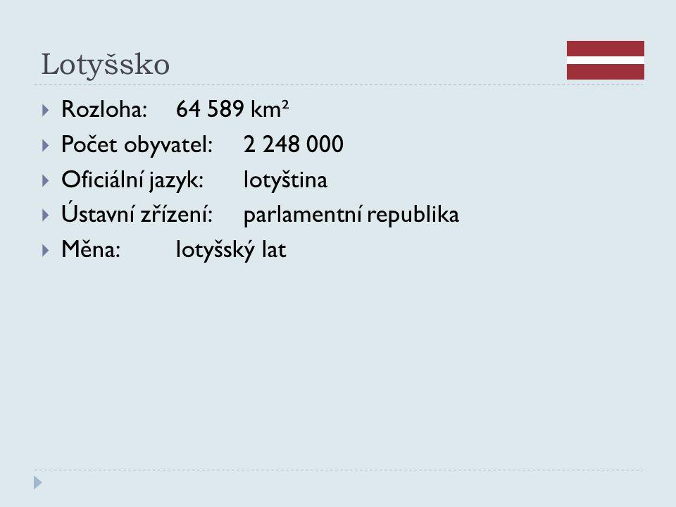 Lotyšsko  Rozloha:64 589 km²  Počet obyvatel:2 248 000  Oficiální jazyk:lotyština  Ústavní zřízení:parlamentní republika  Měna:lotyšský lat