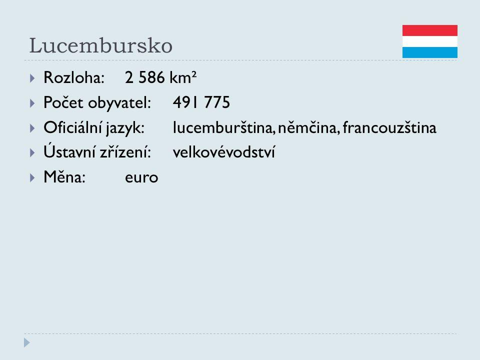 Lucembursko  Rozloha:2 586 km²  Počet obyvatel:491 775  Oficiální jazyk:lucemburština, němčina, francouzština  Ústavní zřízení:velkovévodství  Mě