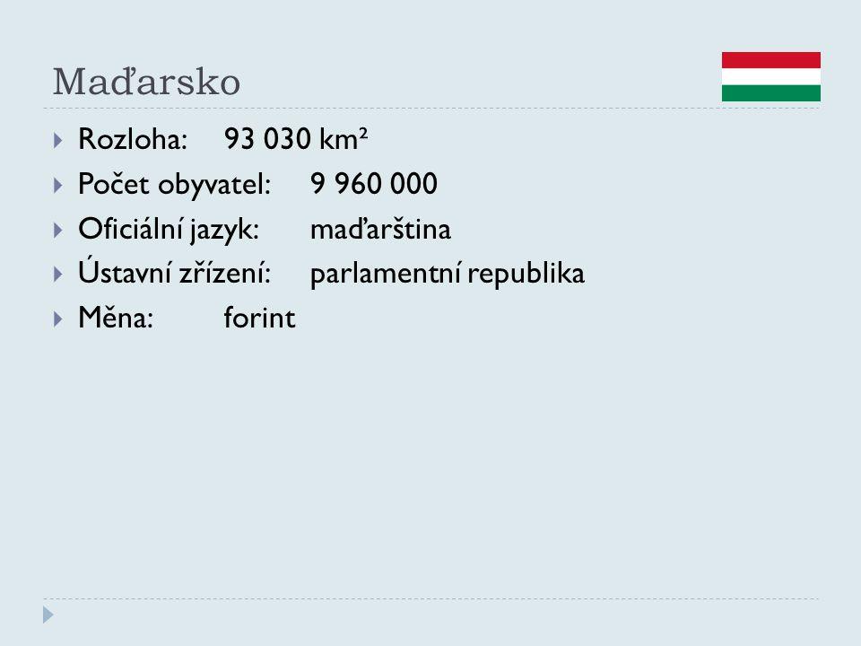 Maďarsko  Rozloha:93 030 km²  Počet obyvatel:9 960 000  Oficiální jazyk:maďarština  Ústavní zřízení:parlamentní republika  Měna:forint