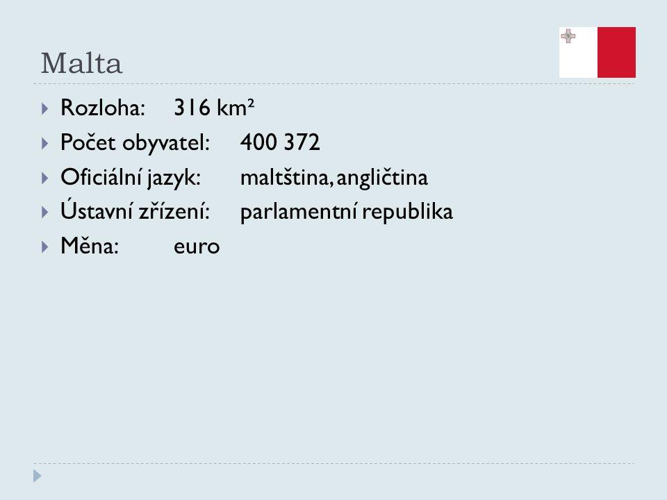 Malta  Rozloha:316 km²  Počet obyvatel:400 372  Oficiální jazyk:maltština, angličtina  Ústavní zřízení:parlamentní republika  Měna:euro