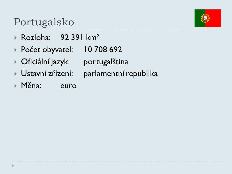 Portugalsko  Rozloha:92 391 km²  Počet obyvatel:10 708 692  Oficiální jazyk:portugalština  Ústavní zřízení:parlamentní republika  Měna:euro