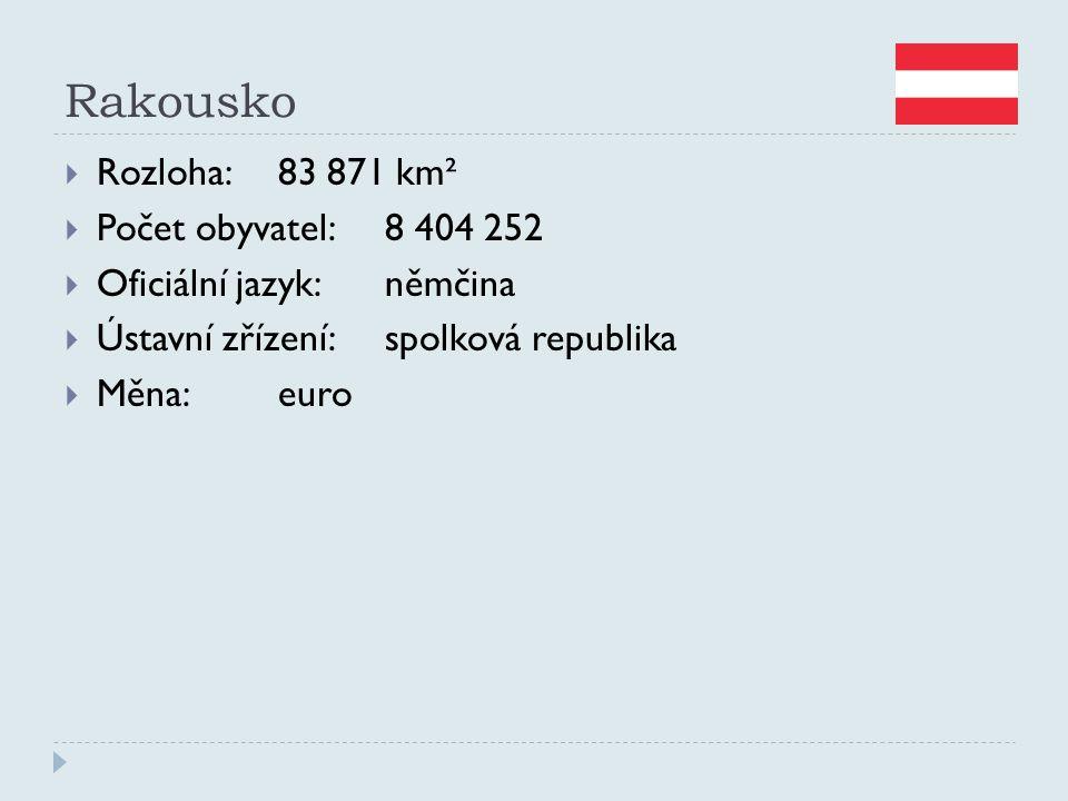 Rakousko  Rozloha:83 871 km²  Počet obyvatel:8 404 252  Oficiální jazyk:němčina  Ústavní zřízení:spolková republika  Měna:euro