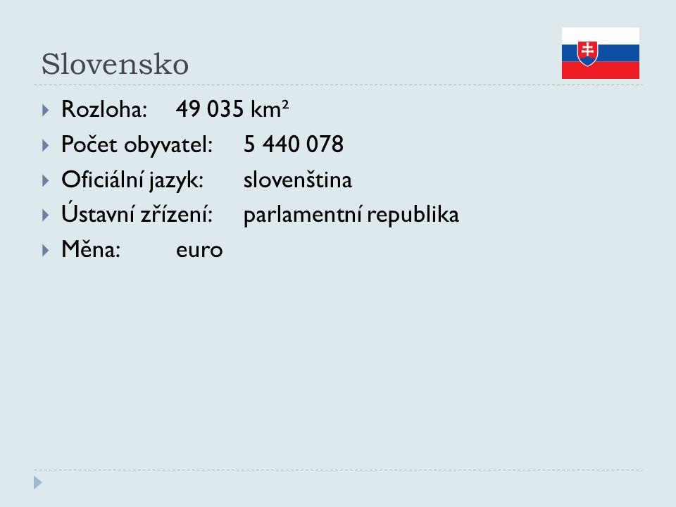 Slovensko  Rozloha:49 035 km²  Počet obyvatel:5 440 078  Oficiální jazyk:slovenština  Ústavní zřízení:parlamentní republika  Měna:euro