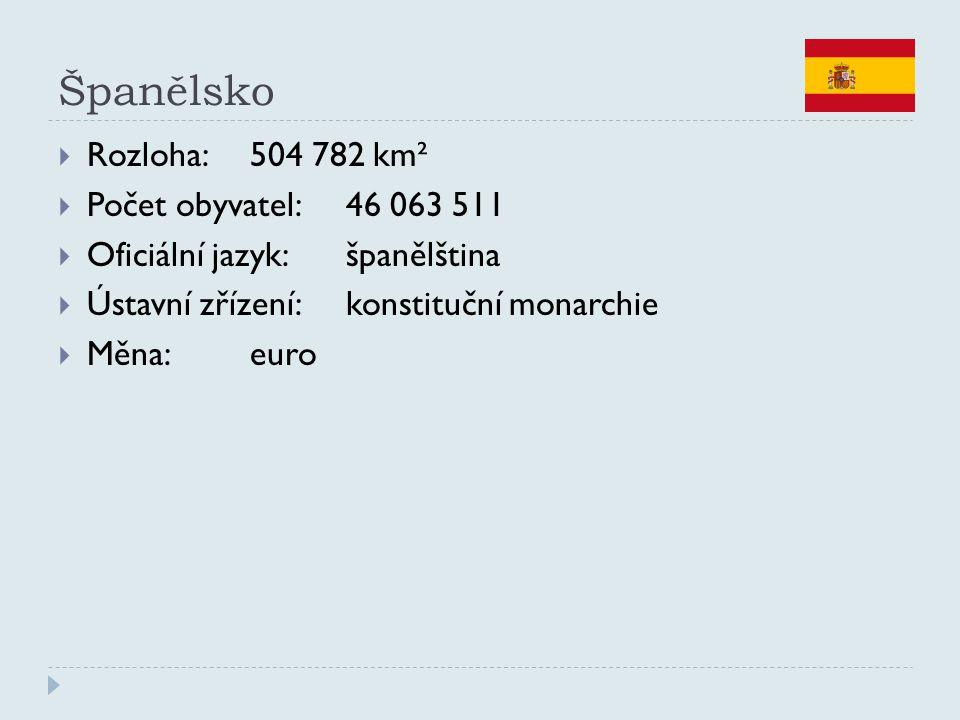 Španělsko  Rozloha:504 782 km²  Počet obyvatel:46 063 511  Oficiální jazyk:španělština  Ústavní zřízení:konstituční monarchie  Měna:euro