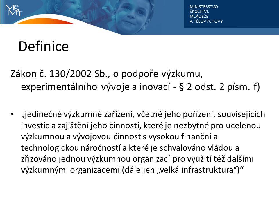 """Definice Zákon č. 130/2002 Sb., o podpoře výzkumu, experimentálního vývoje a inovací - § 2 odst. 2 písm. f) """"jedinečné výzkumné zařízení, včetně jeho"""