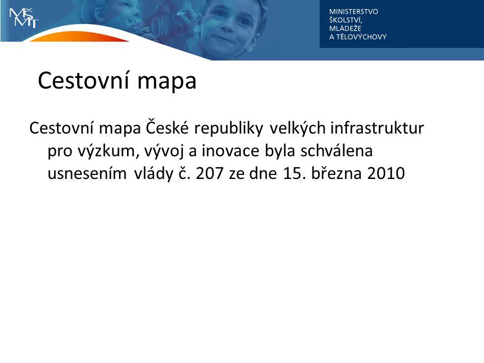 Cestovní mapa Cestovní mapa České republiky velkých infrastruktur pro výzkum, vývoj a inovace byla schválena usnesením vlády č. 207 ze dne 15. března
