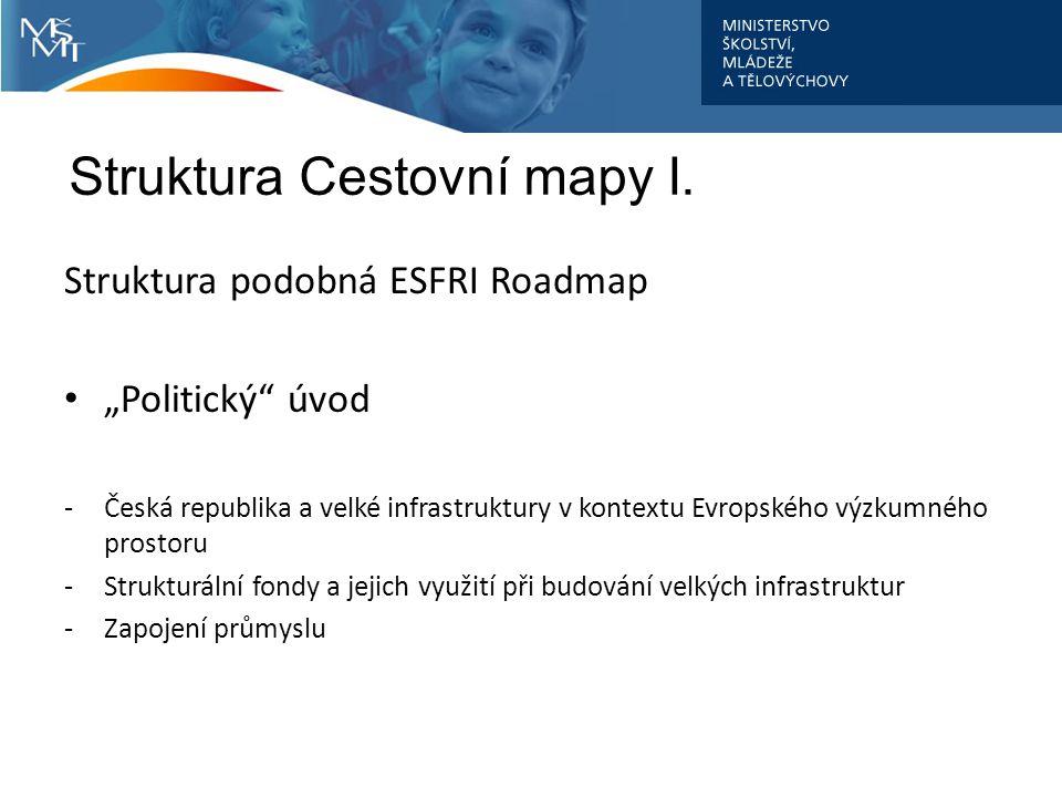 """Struktura Cestovní mapy I. Struktura podobná ESFRI Roadmap """"Politický"""" úvod -Česká republika a velké infrastruktury v kontextu Evropského výzkumného p"""